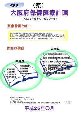 大阪府保健医療計画 平成25年度から平成29年度 概要版 構成イメージ
