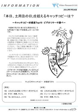 キャッチコピー好感度Top10 ビデオリサーチ調べ