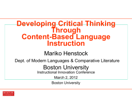 Developing Critical Thinking Through Content