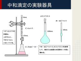 中和滴定の実験器具