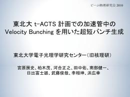 東北大t-ACTS計画での加速管中のVelocity