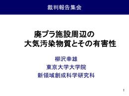 柳沢幸雄・東京大学教授の報告資料 - 廃プラ処理による公害から健康と