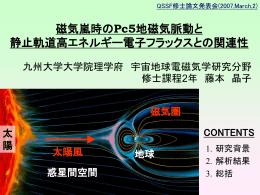 藤本 晶子 磁気嵐時の Pc5 地磁気脈動と静止軌道高エネルギー電子