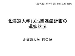 北海道大学1.6m望遠鏡計画の進捗状況