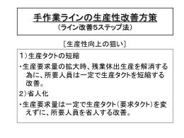 手作業ラインの生産性改善方策 (ライン改善5ステップ法)