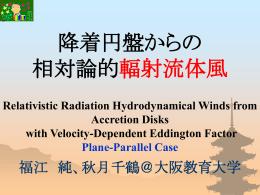 降着円盤からの相対論的輻射流体風