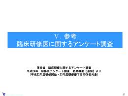 厚労省 臨床研修に関するアンケート調査 平成24年 研修医アンケート