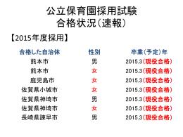 公立幼稚園・保育園採用試験 合格状況(速報)