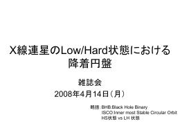 X線連星のLow/Hard状態における降着円盤