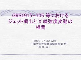 GRS1915+105 等におけるジェット噴出と X 線強度変動の相関