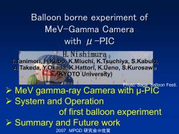 MeV-γ線カメラの気球搭載実験 - SAGA-HEP