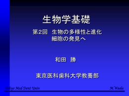 第2回講義の内容 - 東京医科歯科大学