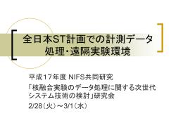 全日本ST計画での計測データ処理・遠隔実験環境