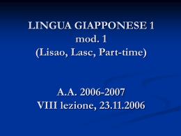 LINGUA GIAPPONESE 1 mod. 1