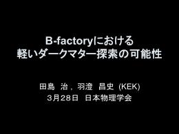 B-factoryにおける軽いダークマター探索の可能性