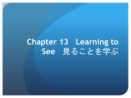 Chapter 13 Learning to See 見ることを学ぶ