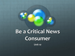 Be a Critical News Consumer