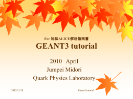 For 秘伝ALICE解析指南書 GEANT3 tutorial