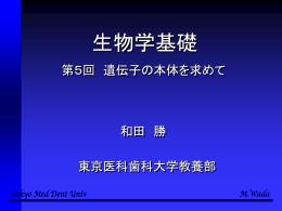 第5回講義の内容 - 東京医科歯科大学