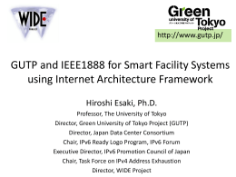 GUTP and IEEE1888 for Smart Facility Systems using - Test-beds