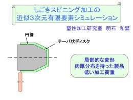 円管のしごきスピニング加工の 近似3次元有限要素