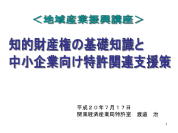 知的財産権の基礎知識と中小企業向け特許関連支援