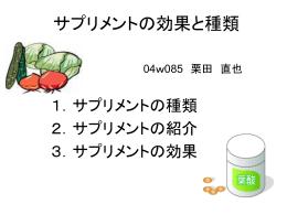 サプリメントの効果と種類 04w085 栗田 直也