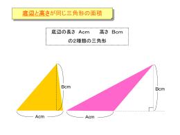 底辺と高さが同じ三角形の面積
