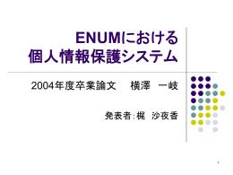 ENUMにおける 個人情報保護システム