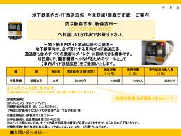 地下鉄車内ガイド放送広告 今里筋線「新森古市駅」