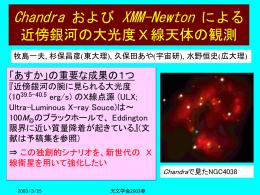 Chandra/XMMによるULX観測;東北大学