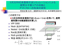 3次元MHD多重格子法シミュレーションによる 星間分子雲コアの収縮と