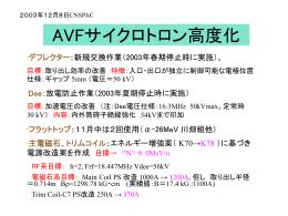 AVFサイクロトロン高度化