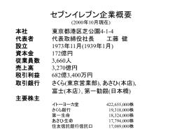 セブンイレブン企業概要 (2000年10月現在)