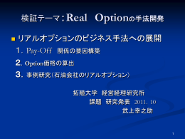 Real Optionの手法開発