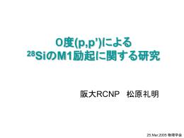 0度(p,p`)による 28SiのM1励起に関する研究