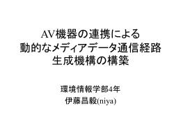 卒業論文中間発表 AV機器の連携によるXX機構の設計と実装