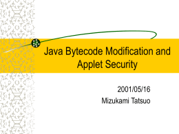 Java Bytecode Modification and Applet Security