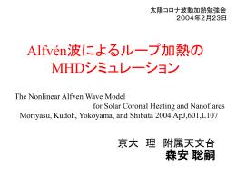 Alfven波によるループ加熱のMHDシミュレーション