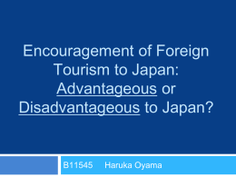 Encouragement of Foreign Tourism to Japan