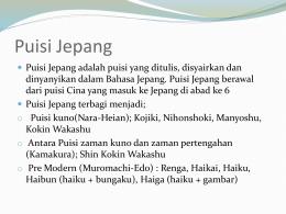 Puisi (詩)、Haiku (俳句)dan Senryuu (川柳)