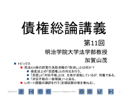 第11回(詐害行為取消権(2) 効果と応用領域)
