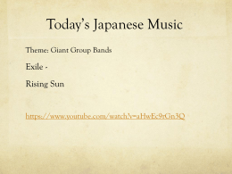 Today*s Japanese Music - Japanese 102 Class Site - Home