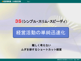 経営戦略塾 3S経営活動