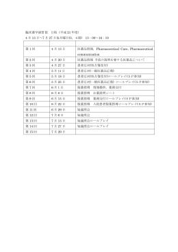 臨床薬学演習II 日程(平成21年度)