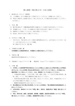 個人調書(様式第4号)の記入要領