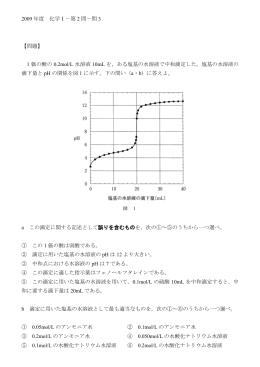 2009年度 化学Ⅰ-第2問-問3 【問題】 1価の酸の0.2mol/L水溶液