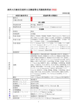 高科大行銷系交換留學生用課程對照表(二技)