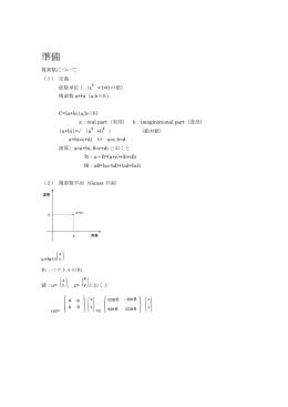 準備 複素数について (1) 定義 虚数単位i(x+1=0の根) 複素数a+bi(a,b