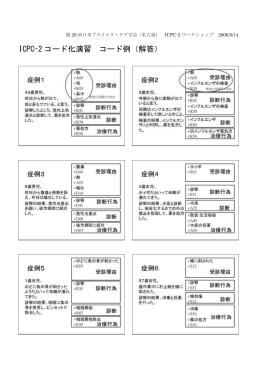 ICPC-2コード化演習コード例(解答)